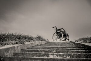 Get wheelchair down the stairs